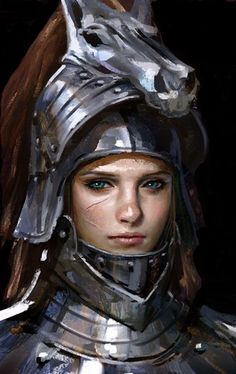 f Fighter or Paladin plate helm portrait Female Knight by Erak Note Inspiration Drawing, Fantasy Inspiration, Character Inspiration, Fantasy Portraits, Character Portraits, Character Art, Fantasy Armor, Medieval Fantasy, Fantasy Girl
