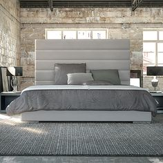 Pirna Bed Queen | Grey Leather | Modern Digs Furniture