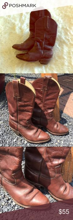 Frye cowboy boots Pre-owned leather Frye boots looking for a new cowboy or cowgirl owner! I purchased these on Poshmark a couple months ago but they feel like they're a half size too small. Style is 2350. Size marked inside the boot says 8.5 mens (which would be 10.5 woman), but they fit more like an 8 men's/10 women's. They're rough but good-looking, sole thickness is good, just need a bit of polish and maybe those sole inserts if you think the inside is too rough (they feel fine with…