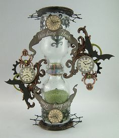 """Clock Hourglass Time: """"Witching Hour"""" ~ Artfully Musing: Making an Hourglass Using Bottles (Tutorial). Halloween Crafts, Halloween Decorations, Halloween Bottles, Steampunk Crafts, Altered Bottles, Assemblage Art, Bottles And Jars, Bottle Art, Hourglass"""