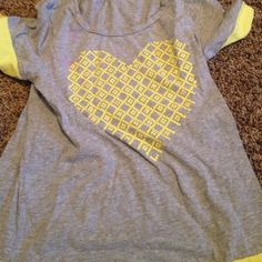 gray shirt with yellow heart grey and yellow shirt! from ROXY Roxy Other