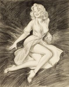 Artwork by Harry Ekman, Pin-Up Reclining, Made of Charcoal and pencil on paper