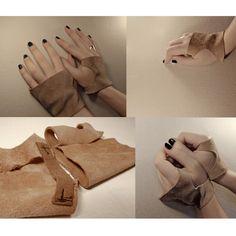 light brown #leather #unisex short fingerless #gloves by #rannka
