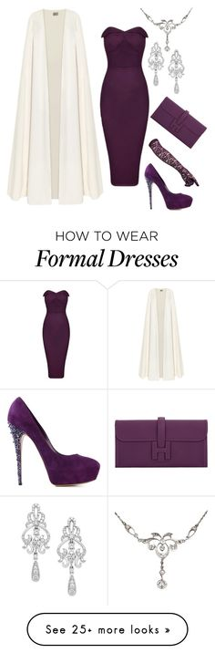 """Plum"" by kjmazeltov on Polyvore featuring Wrapped In Love, La Mania, Casadei, Vintage and Hermès"