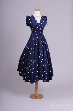 1940's Navy Blue and White Polka Dot Vintage Dress : Mill Crest Vintage