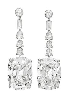 2010-  This pair of cushion-cut 23-carat Golconda ear pendants was sold by Christie's last May for a record price of $ 9.3 million -- Photograph by Christie's Images LTD., 2011