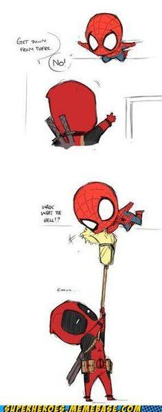 Deadpool with broom on spidey