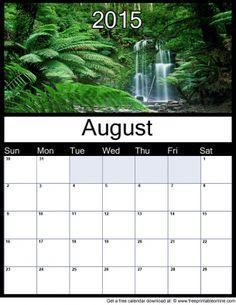 August 2015 Printable Monthly Calendar