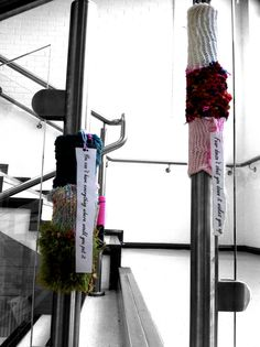 Our first knit bombing assignment around the school Stitches, Knitting, School, Loreto, Sewing Stitches, Tricot, Weaving, Knits, Crocheting