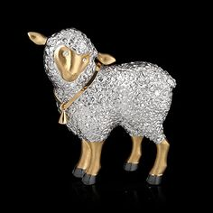 Brooch Sheep - buy in Mousson Atelier - White gold, yellow gold, diamonds