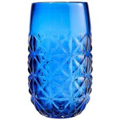 Love the vintage pattern.  Cobalt Embossed Drinkware