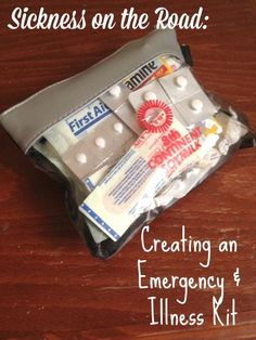 Create your own portable, comprehensive first aid/illness kit for your travels. You probably have most items in your home already!