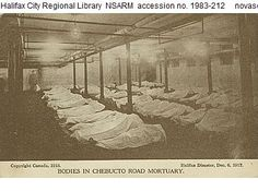 Victims of the Halifax explosion lined up in the Chebucto Road Mortuary. Halifax Explosion, Nova Scotia, Canada, History, Explosions, Travel, Outdoor, Ideas, Mont Blanc