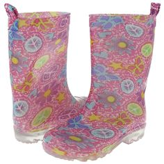 Capelli New York Girl's Sweet Icon Tie Dye Printed Rain Boot Pink Combo 3/4. Wear Alone or Paired Perfectly with Capelli Rain Boot Liners for a Warm Comfy Fit! (Sold Separately On Amazon). Girl's Sweet Icon Tie Dye Printed Rain Boot w/ Glitter. Basic Body. Back Pull Loop.