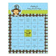 Monkey Boy - Personalized Baby Shower Bingo Game - 16 ct $9.99