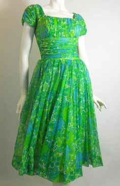 60s electric green and blue floral chiffon party dress by Jonathan Logan, DCV