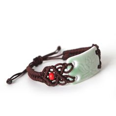 Bracelet- tie designed string on side of piece Porcelain Jewelry, Ceramic Jewelry, Ceramic Beads, Ceramic Clay, Clay Beads, Polymer Clay Jewelry, Ceramic Pottery, Jewelry Crafts, Jewelry Art