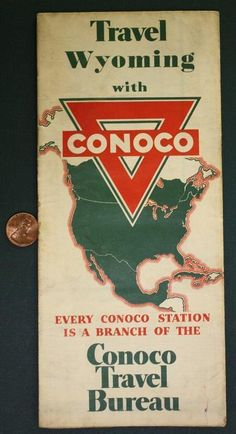 1940 50s Conoco Oil Gas Service Station Travel Wyoming Yellowstone Park Road Map From