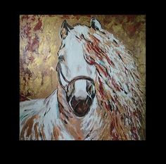 ORIGINAL Oil and Acrylic Abstract Large 28 x 28x 2.5 Gallery Horse Art Painting Palette KnifeTextured Impasto White Stallion Art on Canvas. $195.00, via Etsy.