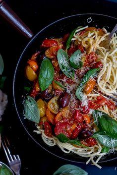 Roasted Tomato & Eggplant Pasta Puttanesca - THe Brick Kitchen-3