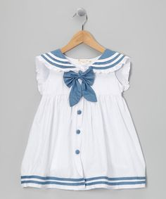 Take a look at this White & Chambray Sailorette Bow Dress - Infant & Toddler by Lele for Kids on #zulily today!