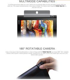 Lenovo Yoga Tab 3 850F Tablet PC Qualcomm APQ8009 Quad Core 1.3GHz 8.0 inch Android 5.1 IPS Screen 1GB RAM 16GB ROM Rotatable 8.0MP Camera GPS Bluetooth 4.0  -  BLACK #TabletPC #Electronics #gadgets @gadgetsone