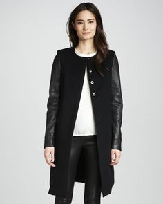 Emilie Leather-Sleeve Wool Coat by J Brand Ready to Wear at Neiman Marcus.