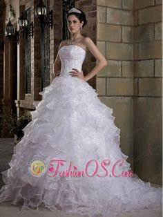 Custom Made A-line Strapless Wedding Dress Brush Train Taffeta and Organza Appliques and Ruffles- http://www.fashionos.com  http://www.facebook.com/fashionos.us  You will look like an angle in this gorgeous wedding dress! This strapless dress featrues a fitted bodice with nice appliques wraped. The skirt is made of several tiers of ruffled fabric, which gives it a great shape and allows for a beautiful silhouette and extends into a ruffled train in the back.