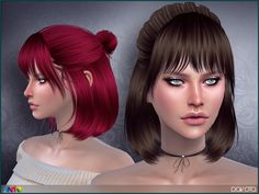 Bob hair with bun Found in TSR Category 'Sims 4 Female Hairstyles'