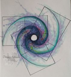 Fibonacci galaxy #Fibonacci #Galaxy #geometriasagrada #Watercolor #Tattoodesign
