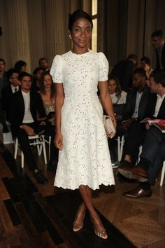 Genevieve Jones wears a Valentino dress  to the Valentino Men's Spring/Summer 2014 Ready-to-Wear show on June 26th 2013 in Paris