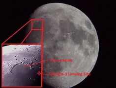Landing site of Chang'e-3. (Photos and graphics: David Dickinson) It missed Sinus Iridum, but landed nearby in Mare Imbrium (Sea of Showers).