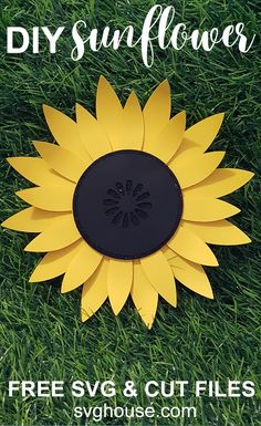Sunflower SVG - Craft A Stunning DIY Paper Sunflower With Your Cricut - Free SVG, DXF and PDF. Use this Sunflower SVG to make a stunning paper Sunflower by hand or with your Cricut. Follow this easy picture tutorial which includes free cut files. #sunflower #sunflowers #easter #spring #summer #svg #svgcutfile #cricut #cutfiles #craft #crafts #craftideas #crafts #handmade #homemade #homemadegifts #heattransfervinyl #vinylprojects #cricutprojects Sunflower Stencil, Sunflower Crafts, Easy Diys For Kids, Diy Crafts For Adults, Kids Crafts, Paper Flower Wall, Flower Wall Decor, Flower Art, Free Svg