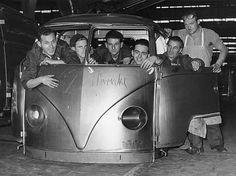 Hungarian refugees in the VW plant Hanover, 1956  #vw_vintage_morat