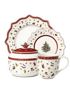 Villeroy & Boch Toy's Delight Dinnerware.  This is available in red and in green plates too.  Very nice collection.  For sale at Belk's  -pinned Dec 22, 2013.