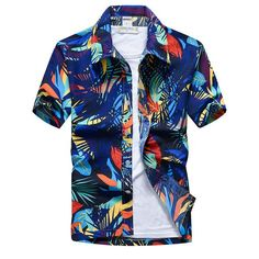 aloha party Shirts Type: Casual ShirtsSleeve Length(cm): ShortMaterial: PolyesterFabric Type: BroadclothPattern Type: FloralClosure Type: Single BreastedCollar: Turn-down CollarStyle: CasualSleeve Style: REGULAR Hawaii Shirt Men, Mens Beach Shirts, Mens Hawaiian Shirts, Aloha Shirt, Casual Shirts For Men, Hawaii Strand, Top Chic, Camisa Slim, Fancy Tops