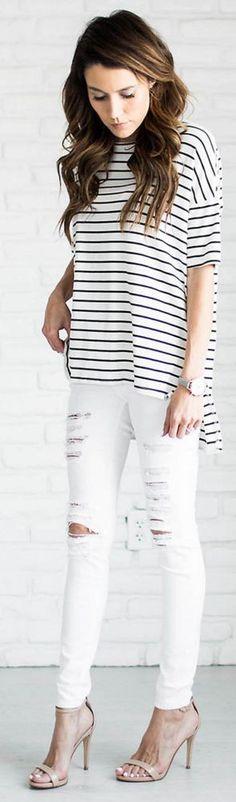 Black + white stripes with distressed denim.