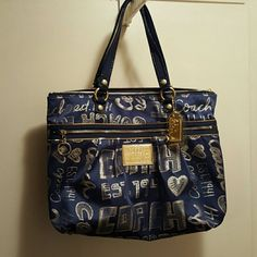 Authentic Coach Handbag Large Navy Blue with gold poppy in good use condition 17 x 13 1/2 Coach Bags Shoulder Bags