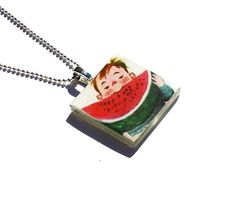 Watermelon Pendant Necklace Little Golden Book by happilymadeover,