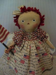 PRIMITIVE RAGGEDY ANN ~americana annie~pledge of allegiance~flag~ #NaivePrimitive #klassygirlcreations