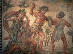 Roman Mosaic pavement depicting the struggle between Dionysus and the Indians…