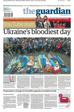 Guardian front page Friday 21 February 2014: Ukraine's bloodiest day pic.twitter.com/NWZ4mlKKVh  Reply  Retweet  Favorite  Storify   More