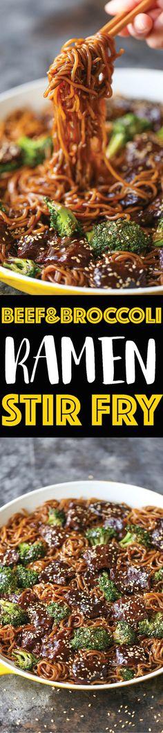 Beef and Broccoli Ramen Stir Fry - Damn Delicious Stir Fry Recipes, Beef Recipes, Cooking Recipes, Easy Recipes, Noodle Recipes, Healthy Recipes, Lasagna Recipes, Cabbage Recipes, Dining