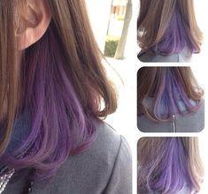 Hair Color Streaks, Hair Color Purple, Hair Dye Colors, Cool Hair Color, Green Hair, Purple Peekaboo Hair, Hidden Hair Color, Hair Color Underneath, Underlights Hair