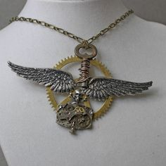 Steampunk Winged Time Necklace
