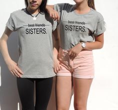 2X Sisters Best friends 2 t-shirts Christmas Gift for best friend unbiological sisters Tumblr Tee top t shirt  XXS - XXL by FavoriTee on Etsy https://www.etsy.com/listing/220925851/2x-sisters-best-friends-2-t-shirts