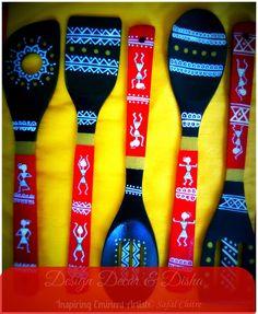 Warli Painting on laddles Design Decor & Disha: Inspiring Eminent Artist: Safal Chitre Hanging Wall Art, Craft Work, Painting, Murals, Creative, Artist, Crafts, Inspiration, Design
