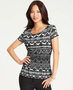 e8390a1249c94 Lace Print Jersey Peplum Top Black Tops