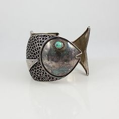 Vintage Sterling Fish Shaped Bracelet From Peru 8
