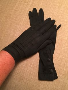 Vintage Black Nylon Gloves Size 6 2 Button Wrist by CobbledStreets